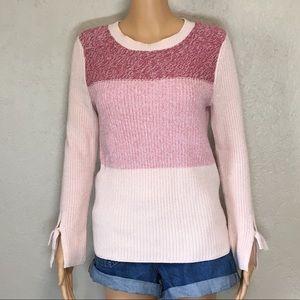 LOFT Tie Sleeve Pink Knit Sweater